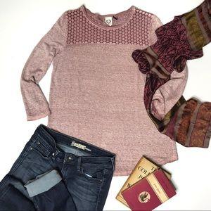 Anthropologie Akemi + Kin Mauve Linen Knit Top